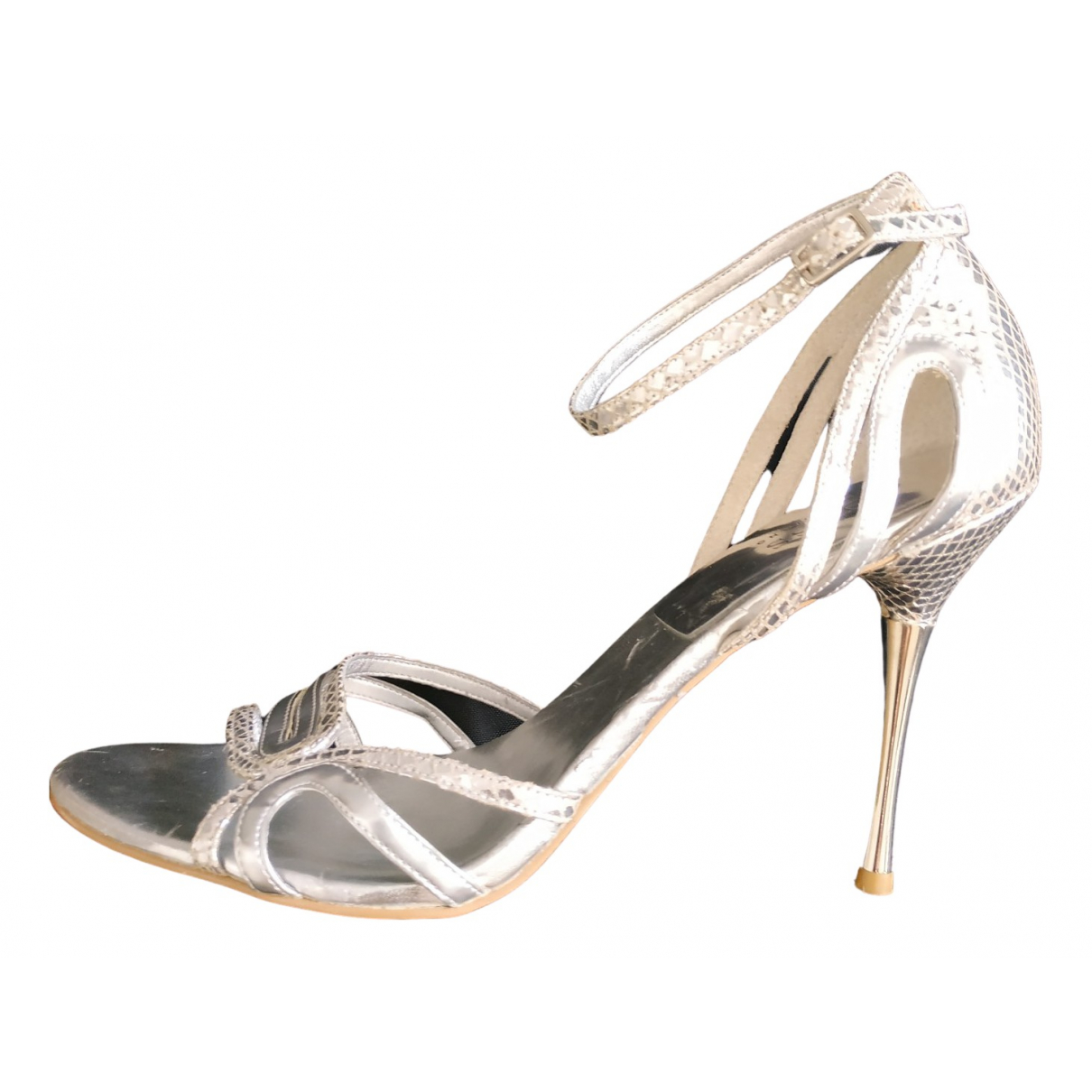 Guess N Silver Leather Sandals for Women 41.5 EU