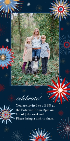 4th of July Photo Cards Flat Matte Photo Paper Cards with Envelopes, 4x8, Card & Stationery -Patriotic Fireworks