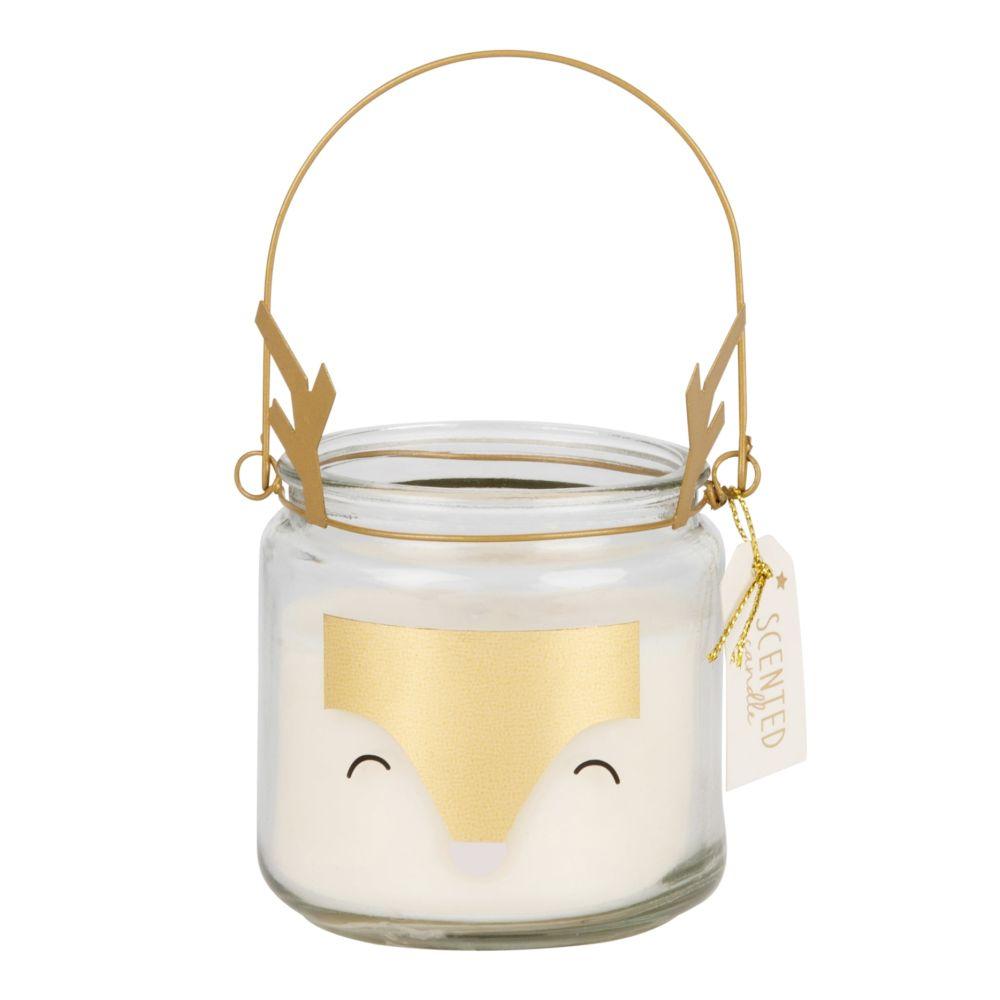 Laternen-Duftkerze im Glasgefaess, bedruckt mit Rentiermotiv