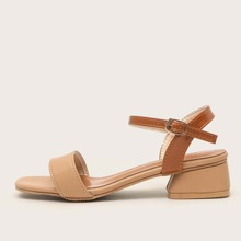 Open Toe Ankle Strap Chunky Heeled Sandals