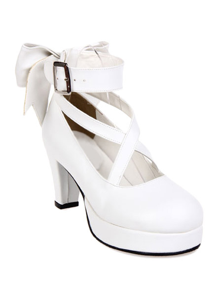 Milanoo Sweet Platform Heels Lolita Shoes Ankle Straps Round Toe