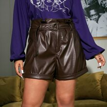 Plus Pleat Detail Cuffed Hem Belted Faux Leather Shorts