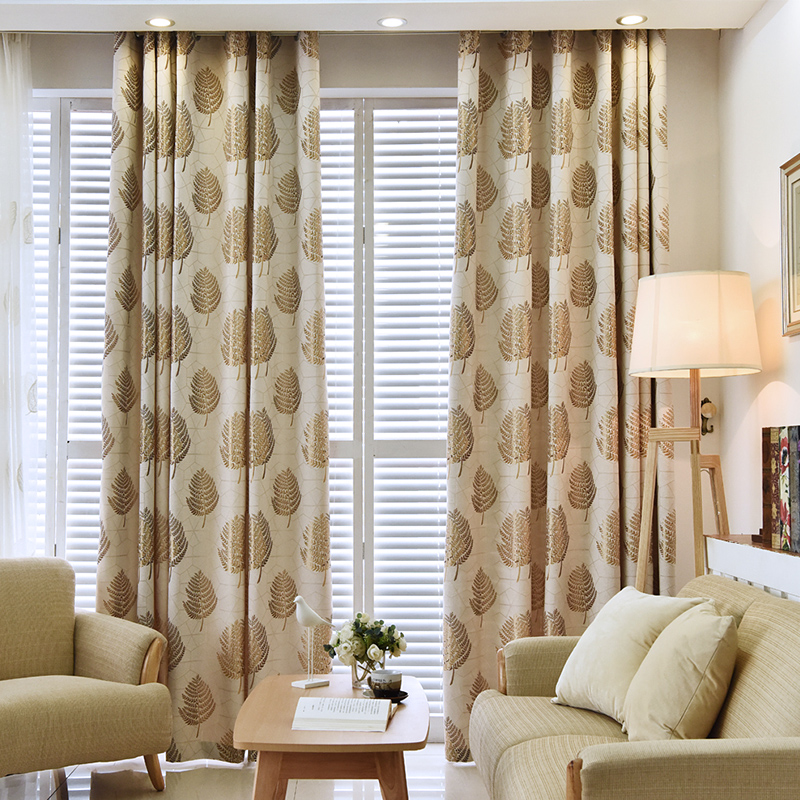 Blackout Modern Decoration High Quality Leaf Grommet Top Curtain