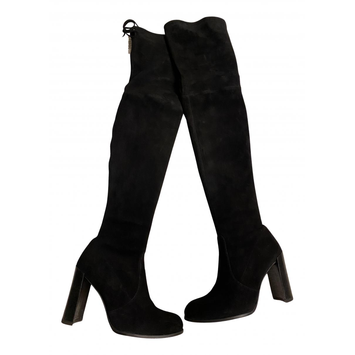 Stuart Weitzman N Black Suede Boots for Women 37.5 IT
