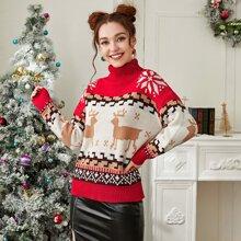 Christmas Pattern Turtleneck Drop Shoulder Sweater