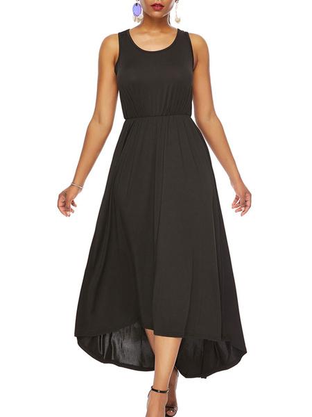 Milanoo Vestido largo negro  Moda Mujer sin mangas de poliester Vestidos Color liso con tirantes estilo informal Verano