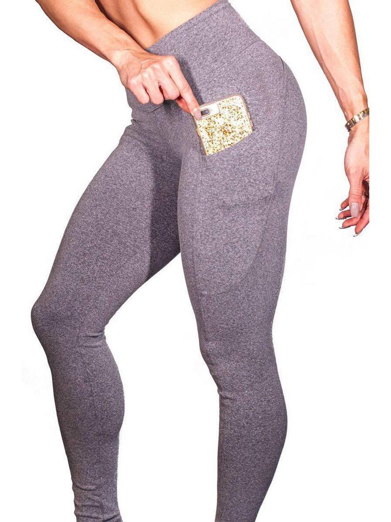 Ericdress Anti-Sweat Pockets Solid Yoga Leggings