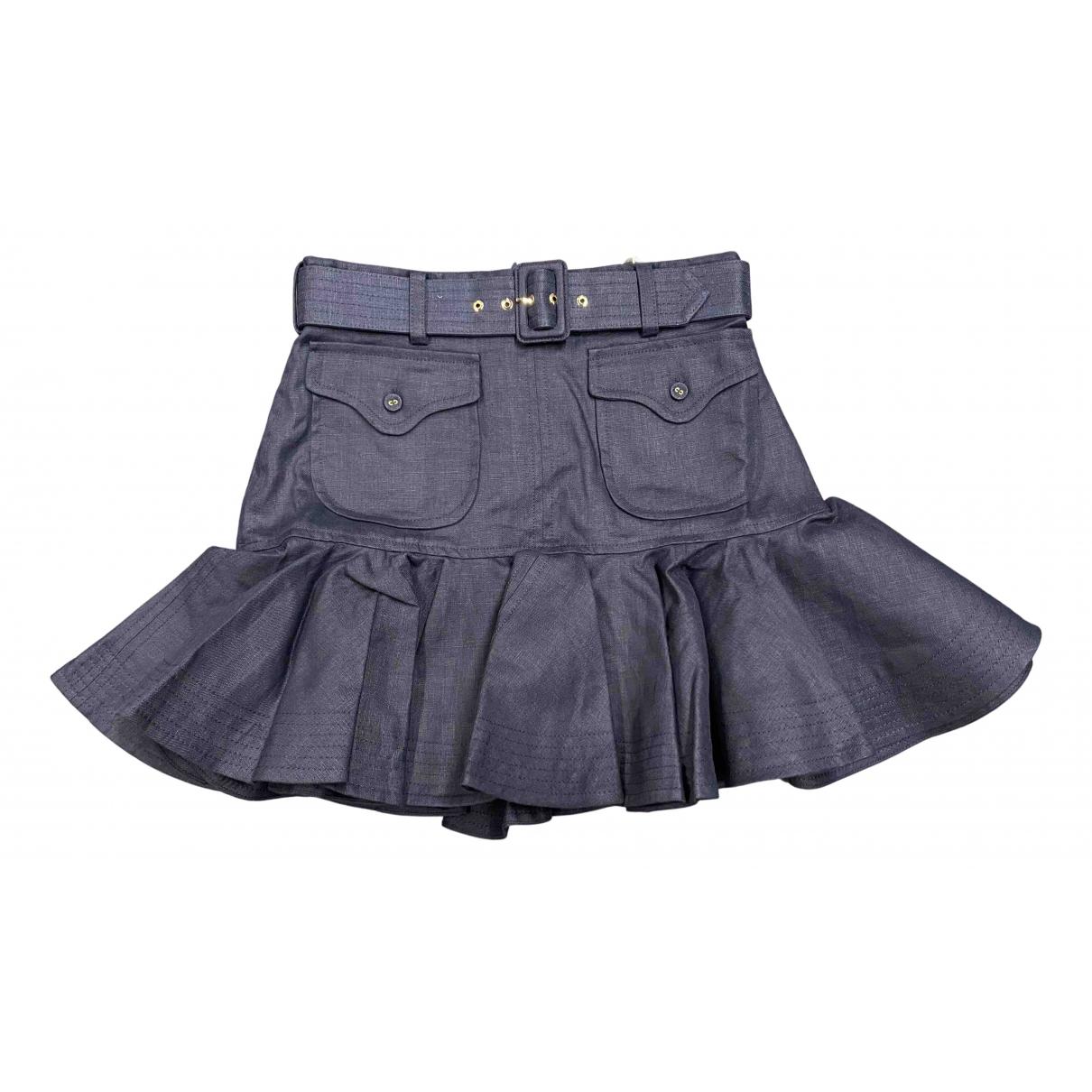 Zimmermann \N Blue Linen skirt for Women 40 FR