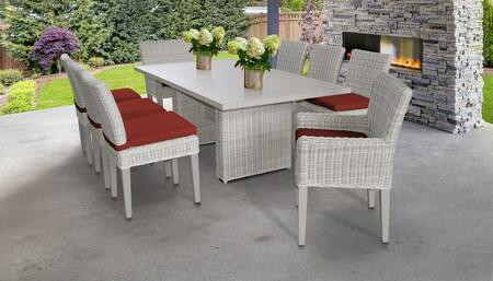 Coast Collection COAST-DTREC-KIT-6ADC2DCC-TERRACOTTA Patio Dining Set With 1 Table  6 Side Chairs  2 Arm Chairs - Beige and Terracotta