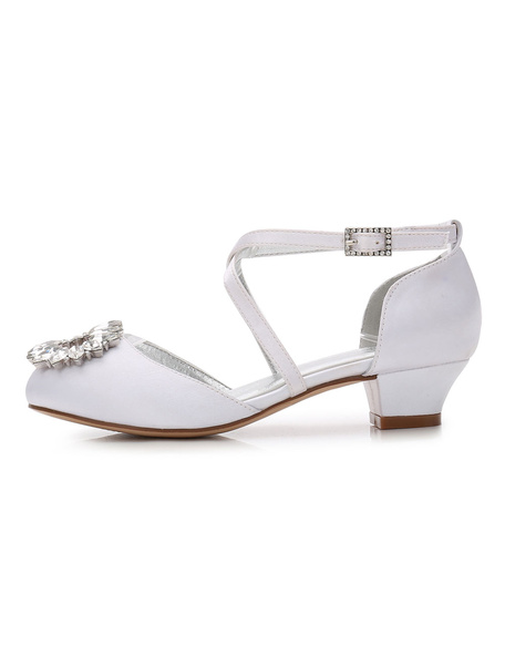 Milanoo White Flower Girl Shoes Satin Round Toe Rhinestones Criss Cross Party Shoes Girl Pageant Shoes