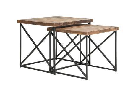 BM200129 Industrial Wood Nesting Table with Metal Base Set of 2 Brown and