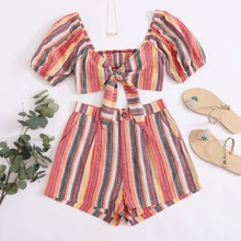 Tie Front Shirred Back Striped Top & Wide Leg Shorts Set
