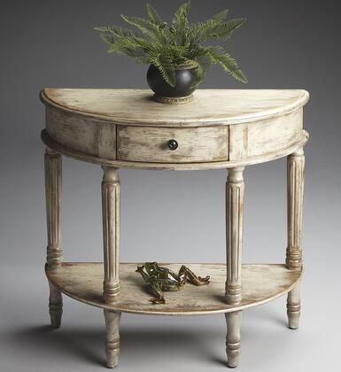 Mozart Collection 0667230 Demilune Console Table with Traditional Style  Demilune Shape and Solid Wood in Chateau Grey
