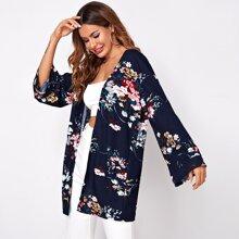 Kord Mantel mit offener Vorderseite, sehr tief angesetzter Schulterpartie und Blumen Muster