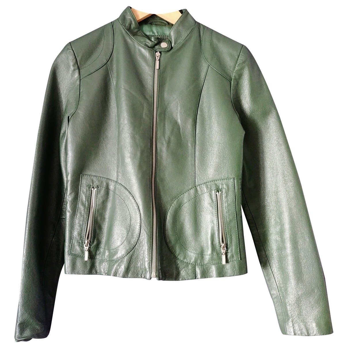 Non Signé / Unsigned \N Green Leather jacket for Women S International