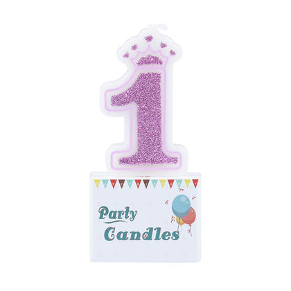 Birthday Crown Candle Glitter Number