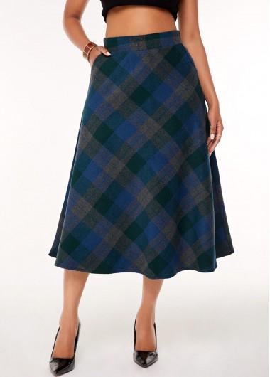 Plaid Print A Line Side Pocket Skirt - L