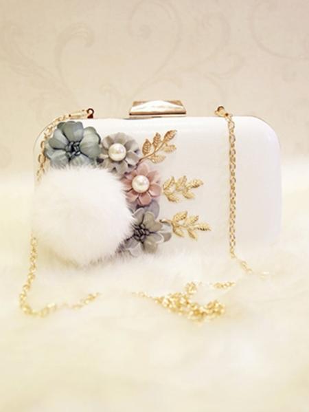 Yoins Fur Ball & Floral Embellished CrossBody Bag