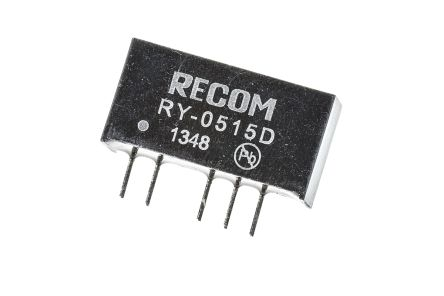 Recom RY 1W Isolated DC-DC Converter Through Hole, Voltage in 4.75 ? 5.25 V dc, Voltage out �15V dc
