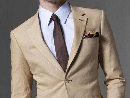 Mens Taupe Linen Suit 1 Linen 2Button