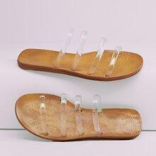 Open Toe Clear Multi Strap Flat Slide Sandals
