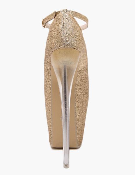 Milanoo Women's Glitter Pointed Toe PU Leather Sexy Sky High Heels