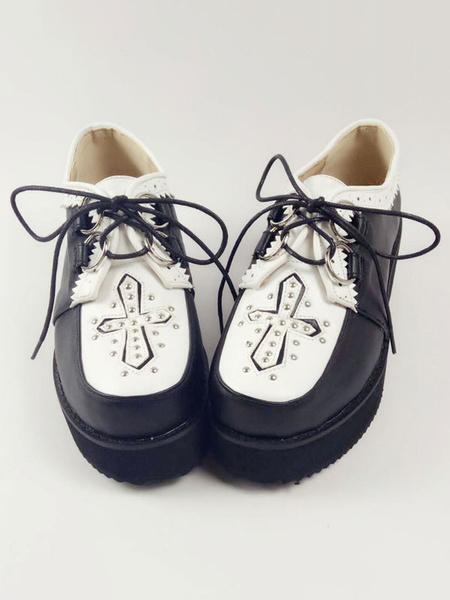 Milanoo Classic Lolita Shoes Round Toe Wedge Heel Color Block Lace Up Grommets PU Black Lolita Shoes
