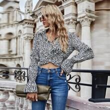 Crop Bluse mit Leopard Muster und Twist vorn