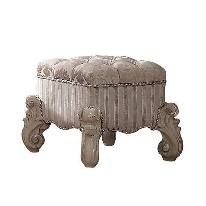 BM185877 Tufted Fabric Upholstered Wooden Vanity Stool with Scrolled Legs  Bone