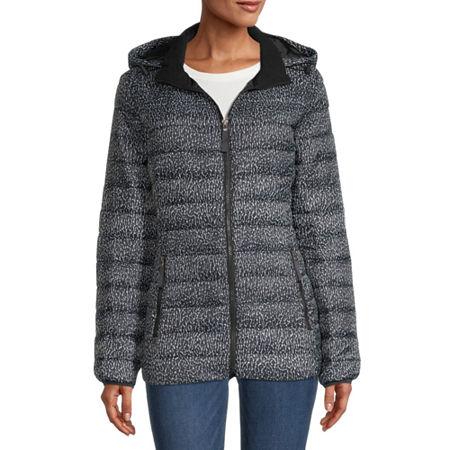 St. John's Bay Hooded Packable Lightweight Puffer Jacket, Large , Black