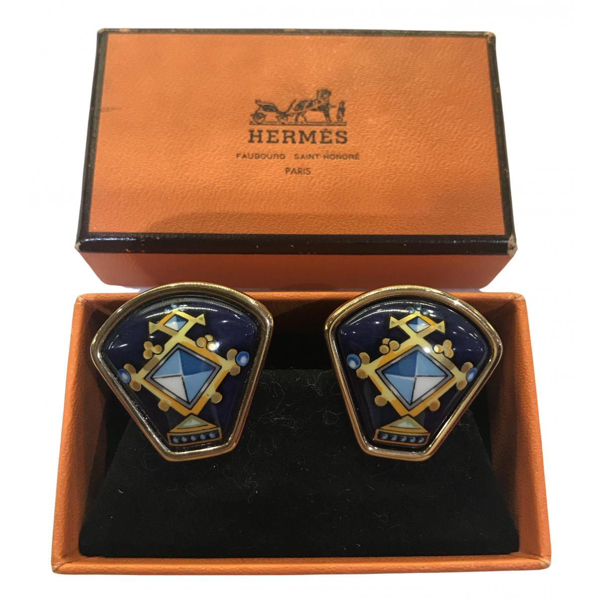 Hermes - Boucles doreilles   pour femme en plaque or - dore