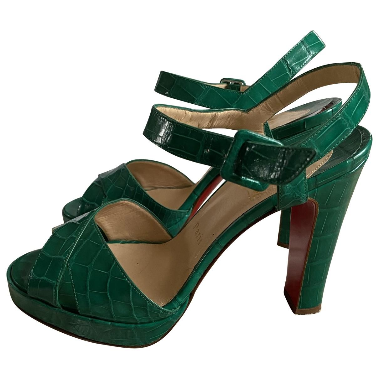 Christian Louboutin \N Green Crocodile Sandals for Women 39 EU