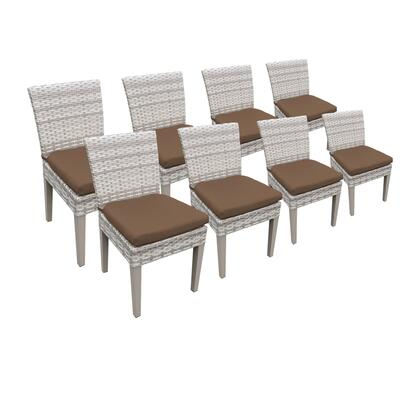 TKC245b-ADC-4x-C-COCOA 8 Fairmont Armless Dining Chairs with 2 Covers: Beige and