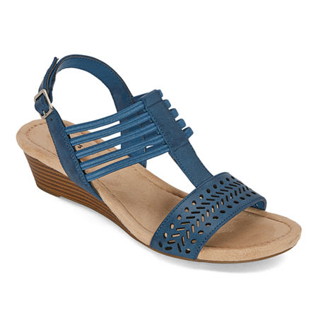 St. Johns Bay Womens Nordic Wedge Sandals, 10 Medium, Blue