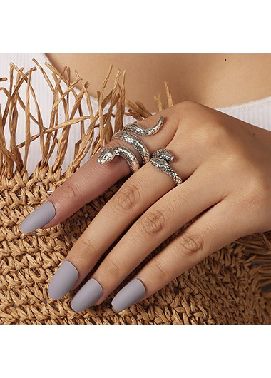 Mother's Day Gifts Metal Snake Design Silver Ring Set - One Size