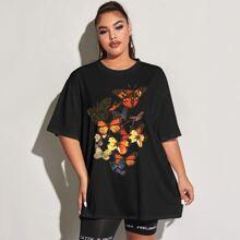 T-Shirt mit Schmetterling Muster