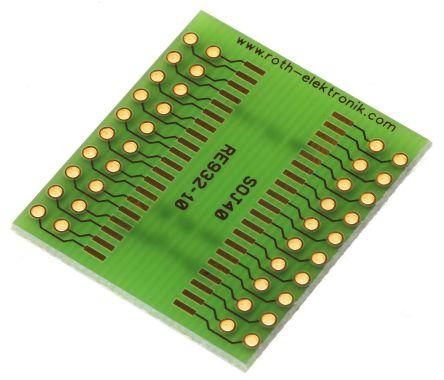 Roth Elektronik PCB Adapter SOJ Epoxy Glass Double-Sided 35.5 x 29 x 1.5mm FR4