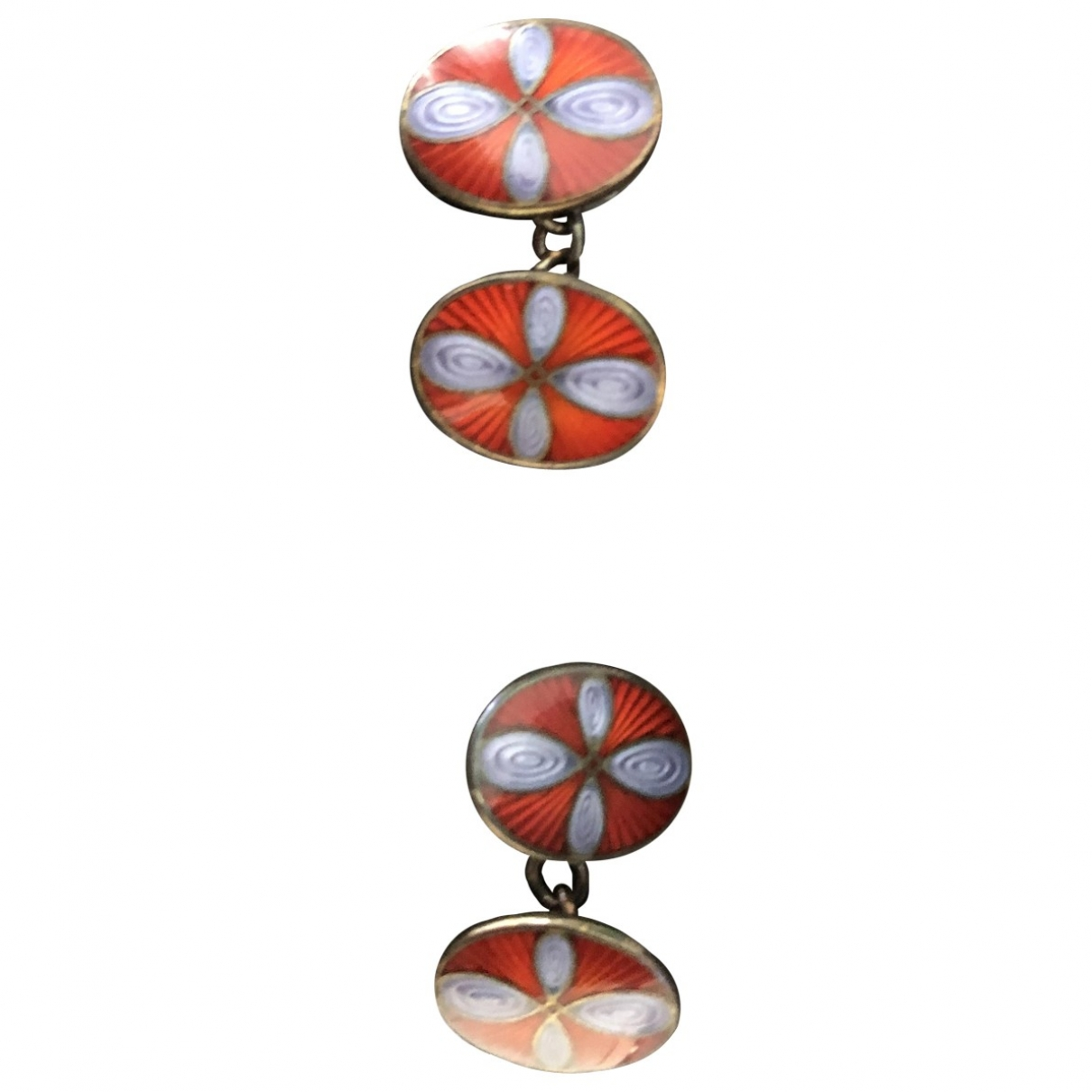 Non Signé / Unsigned \N Burgundy Silver Cufflinks for Men \N