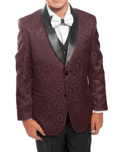Kids ~ Children ~ Boys ~ Toddler Burgundy/Black Tuxedo Vested Suit