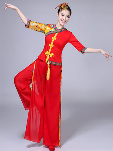 Milanoo Red Chinese Costumes Nice Carnival Costumes Tang Suit