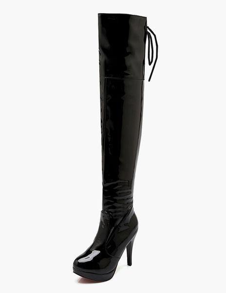Milanoo Botas altas mujer negro  botas altas negras Charol PU de tacon de stiletto de puntera redonda 10cm Invierno Primavera 3cm Cremallera