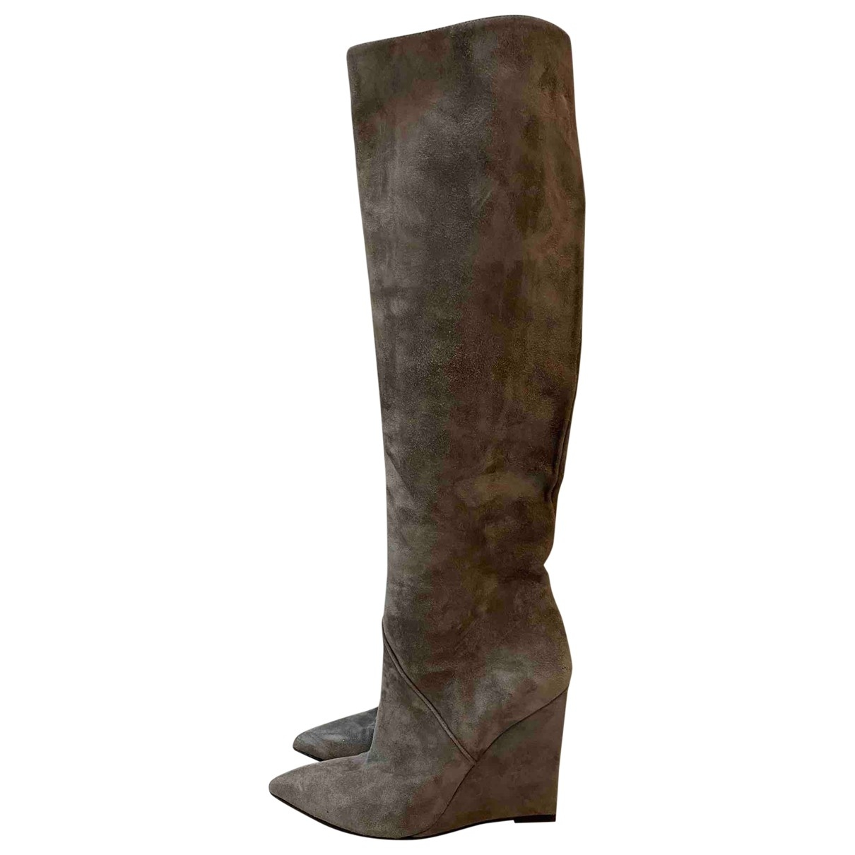 Saint Laurent \N Grey Suede Boots for Women 36 EU