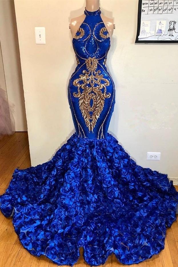 2021 Royal Blue Halter sirena vestidos de baile | Hermosas flores sin mangas largos vestidos de noche