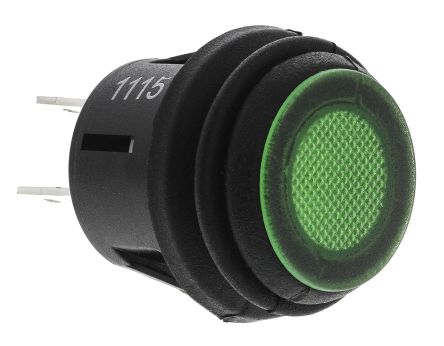 ZF Double Pole Double Throw (DPDT) Latching Green LED Push Button Switch, IP65, 20.2 (Dia.)mm, Panel Mount, 125V ac