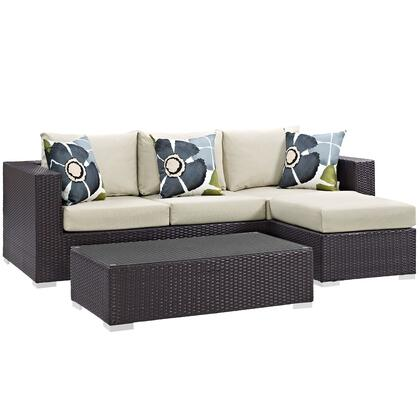 Convene Collection EEI-2364-EXP-BEI-SET 3 Piece Outdoor Patio Sofa Set with Powder Coated Aluminum Frame  Synthetic Rattan Weave and All-Weather