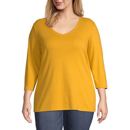 St. Johns Bay Plus-Womens Scoop Neck 3/4 Sleeve T-Shirt, 0x , Yellow
