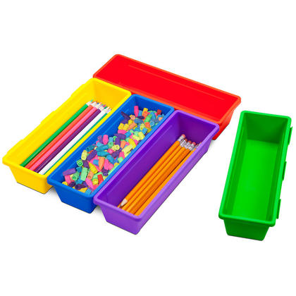 Storex® Pencil Trays, Assorted Colors, 3