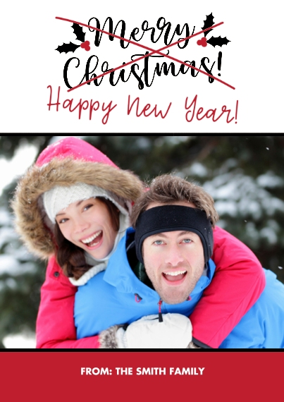 New Years Photo Cards Set of 20, Premium 5x7 Foil Card, Card & Stationery -Christmas Nope New Years