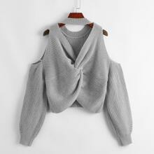 Twist Back Cold Shoulder Sweater