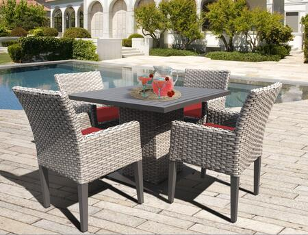 Oasis Square Dining Table with 4 Chairs with 2 Covers: Gray and Terracotta